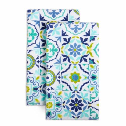 Fiesta Worn Tiles Kitchen Towels Set - 2 Pack - Blue Perspective: front