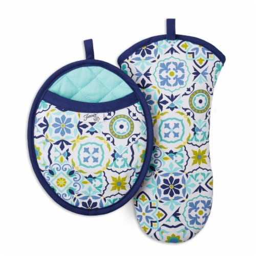 Fiesta Worn Tiles Oven Mitt & Pot Holder Set - Blue Perspective: front