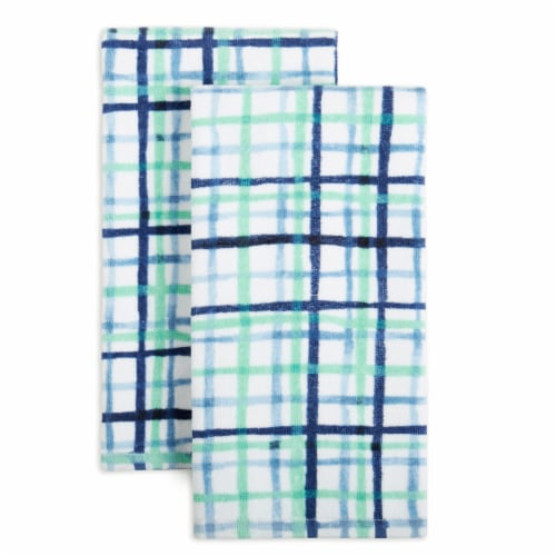 Fiesta Watercolor Plaid Kitchen Towel Set - 2 Pack - Blue Perspective: front