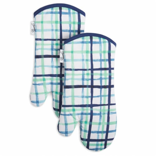 Fiesta Watercolor Plaid Oven Mitt Set - 2 Pack - Blue Perspective: front