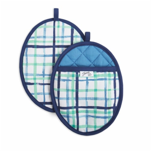 Fiesta Watercolor Plaid Pot Holder Set - 2 Pack - Blue Perspective: front