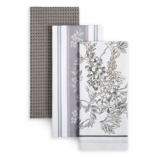 Martha Stewart Printed Iris Kitchen Towels - 3 Pack - Gray Perspective: front