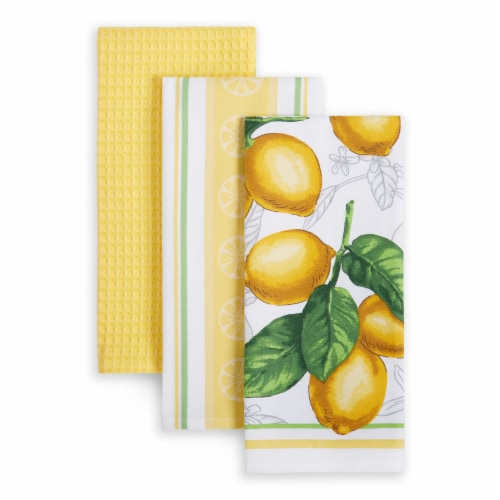 Martha Stewart Printed Lots of Lemons Kitchen Towels - 3 Pack - Yellow Perspective: front