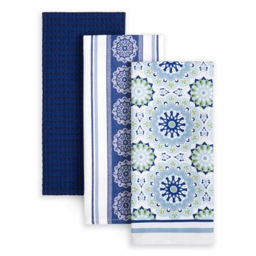 Martha Stewart Medallion Kitchen Towel Set - Blue Perspective: front