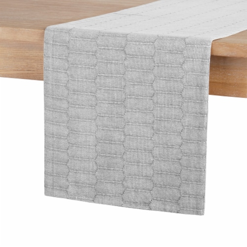 Martha Stewart Honeycomb Table Runner - Gray Perspective: front