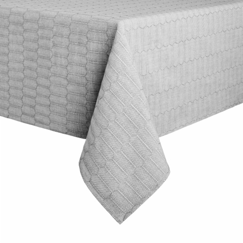 Martha Stewart Honeycomb Rectangle Tablecloth - Gray Perspective: front