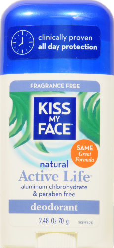 Kiss My Face Fragrance Free Active Life Deodorant Stick Perspective: front