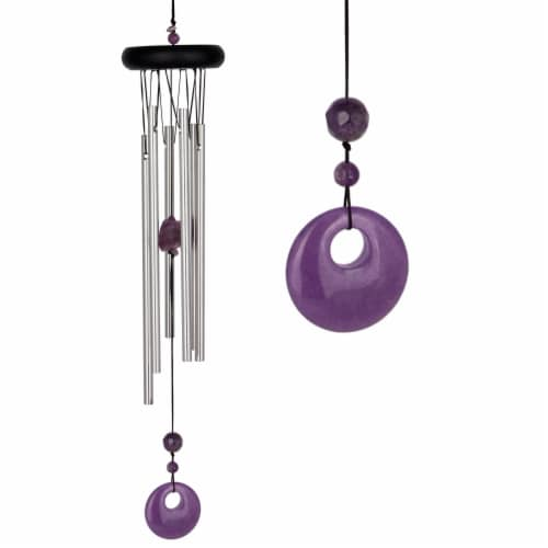 Woodstock Amethyst Chakra Chime - Purple/Silver Perspective: front