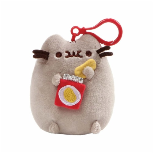 Gund Pusheen With Potato Chips 5 Inch Plush Backpack Clip Perspective: front