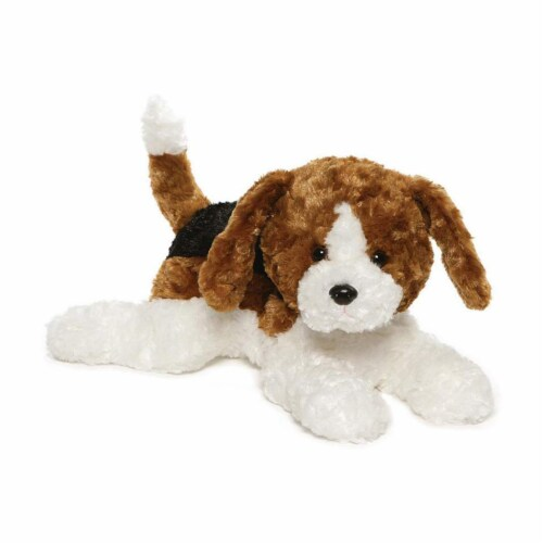 Gund Russet Beagle Dog White Brown 14 Inch Plush Figure Perspective: front
