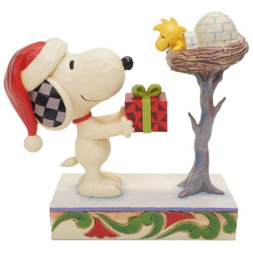Enesco Jim Shore Peanuts Snoopy & Woodstock Snowy Gift Figurine Perspective: front