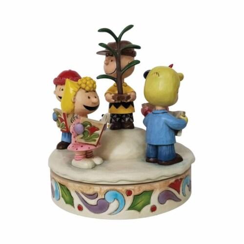 Enesco Jim Shore Peanuts Spreading Christmas Cheer Figurine Perspective: front