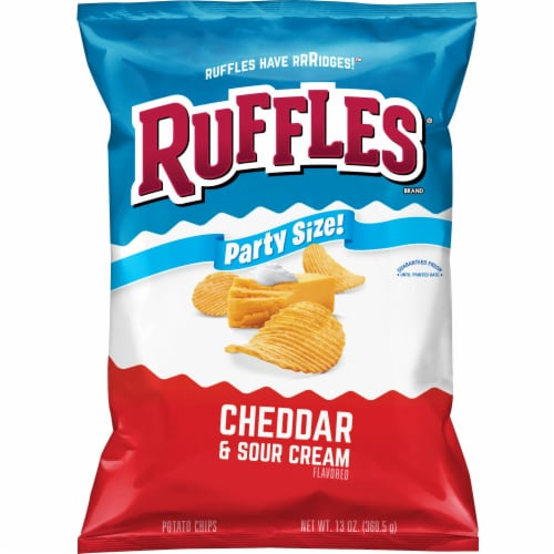 Ruffles Potato Chips Cheddar & Sour Cream Flavor Party Size Snack Perspective: front