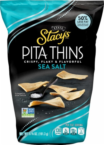 Stacy's Sea Salt Pita Thins Baked Pita Chips Snacks Perspective: front