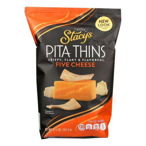 Stacy's Pita Chips 5 Cheese Pita Crisps - Cheese - Case of 8 - 6.75 oz. Perspective: front