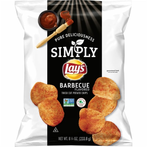 Lay's Simply Barbecue Flavored Thick Cut Potato Chips Perspective: front