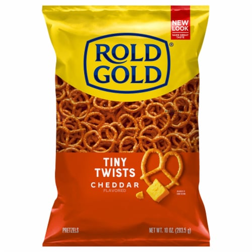 Rold Gold Cheddar Cheese Flavored Tiny Twists Pretzels Snacks Perspective: front