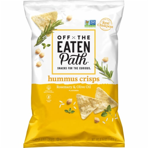 Off the Eaten Path Hummus Crisps Rosemary & Olive Oil Chips Snacks Perspective: front