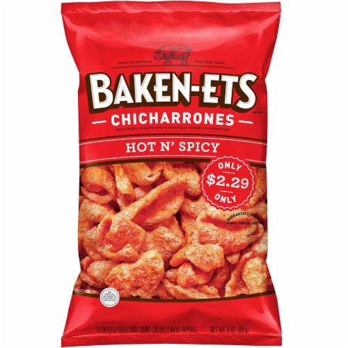 Baken-Ets Hot & Spicy Flavored Fried Pork Rinds Skins Snacks Perspective: front