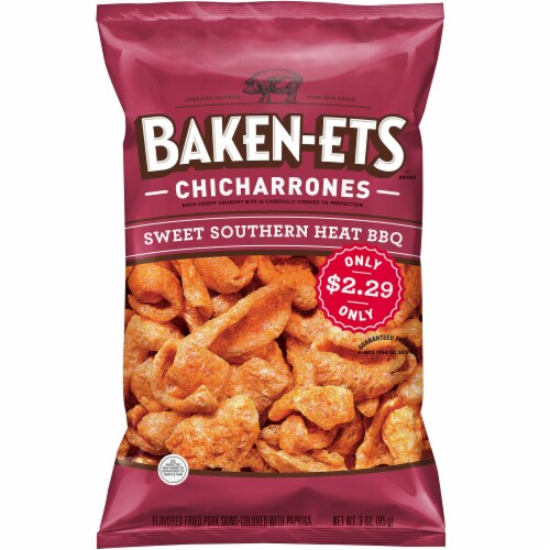 Baken-Ets Sweet Southern Heat BBQ Flavored Fried Pork Rinds Skins Snacks Perspective: front