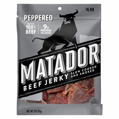 Matador Slow Cooked and Smoked Peppered Beef Jerky Perspective: front