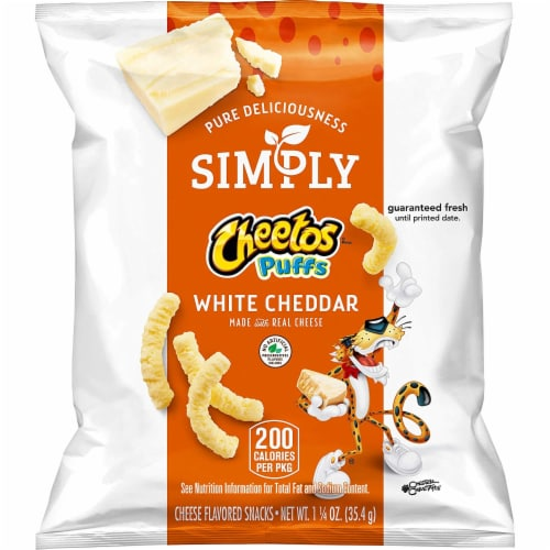 Cheetos Simply White Cheddar Puffs 1.25 ounces (Pack of 64) Perspective: front