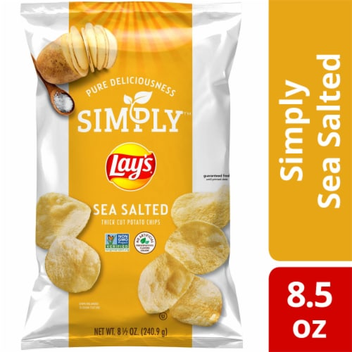 Lay's Simply Sea Salted Thick Cut Potato Chips Snacks Perspective: front