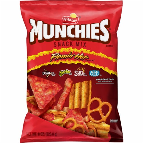 Munchies Flamin' Hot Flavored Spicy Snacks & Chips Mix Perspective: front