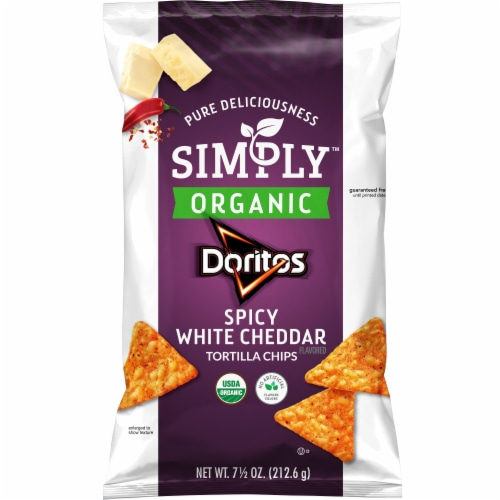 Doritos Simply Organic Spicy White Cheddar Flavored Tortilla Chips Perspective: front