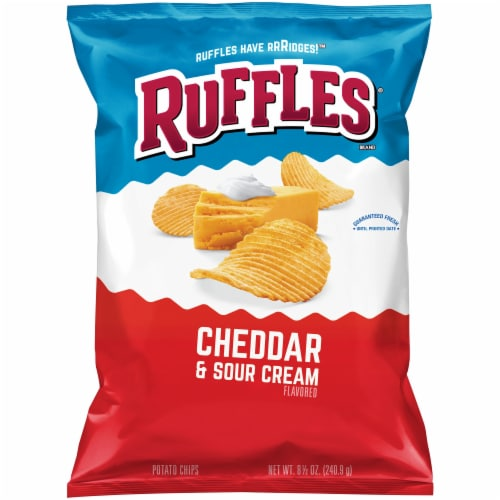Ruffles Potato Chips Cheddar & Sour Cream Flavor Snacks Perspective: front