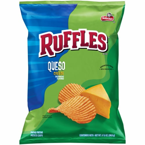 Ruffles Potato Chips Queso Cheese Flavor Snacks Bag Perspective: front