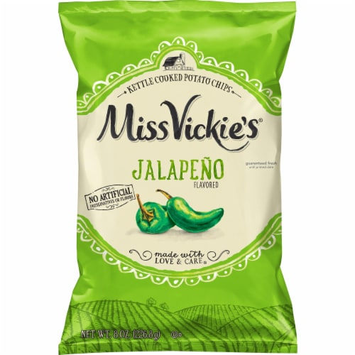 Miss Vickie's Jalapeno Kettle Cooked Potato Chips Perspective: front
