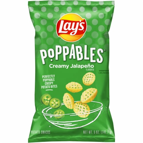 Lay's Poppables Potato Chips Snacks Creamy Jalapeño Flavor Bag Perspective: front