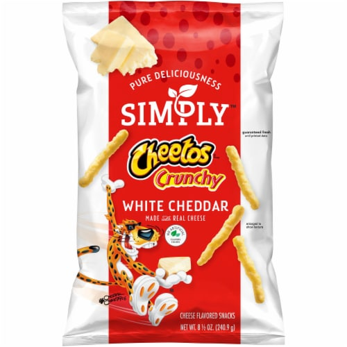 Cheetos Simply Crunchy White Cheddar Cheese Flavored Snacks Perspective: front