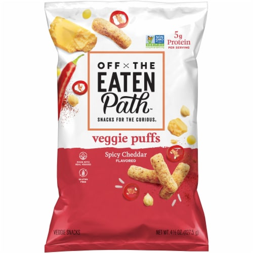 Off the Eaten Path Spicy Cheddar Veggie Puffs Snacks Perspective: front