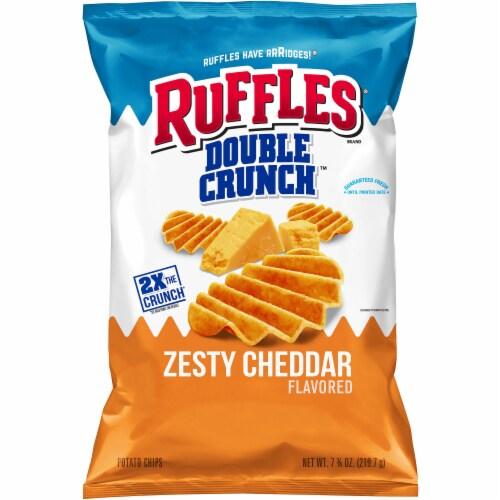 Ruffles Potato Chips Double Crunch Zesty Cheddar Flavor Snacks 7.75 oz Bag Perspective: front