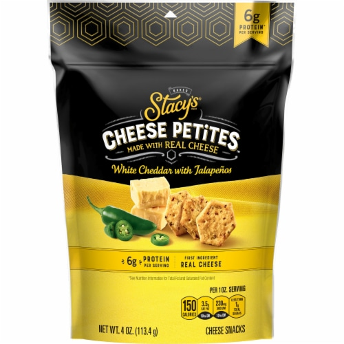 Stacy's Pita Chips White Cheddar Jalapeno Cheese Petites Snacks Perspective: front