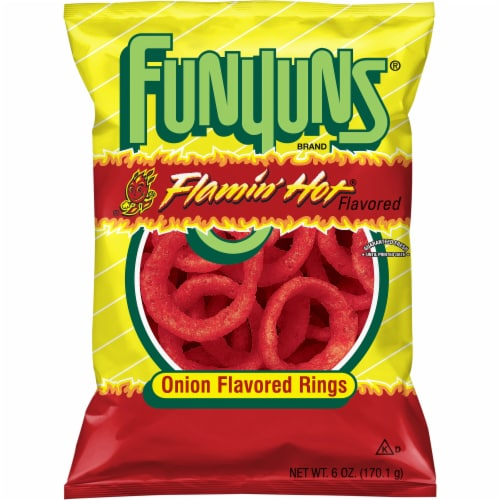 Funyuns Flaming Hot Onion Flavored Rings Snacks Perspective: front
