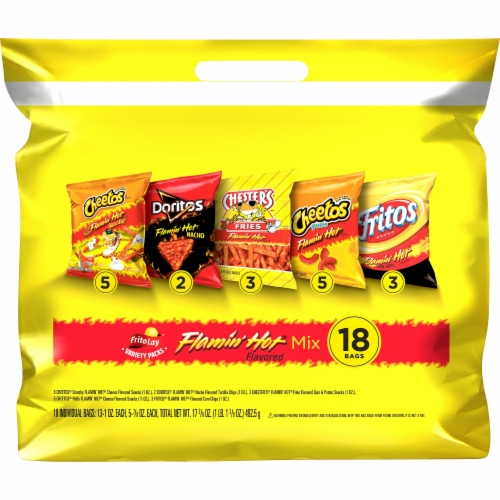Frito-Lay Flamin' Hot Snacks & Chips Mix Variety Pack Perspective: front