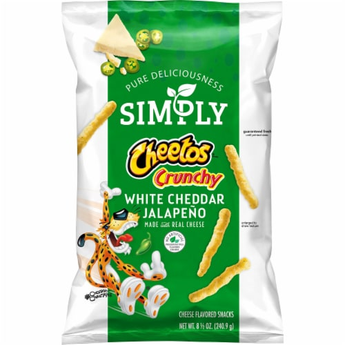 Cheetos Simply Crunchy White Cheddar Jalapeno Flavored Cheese Snacks Perspective: front