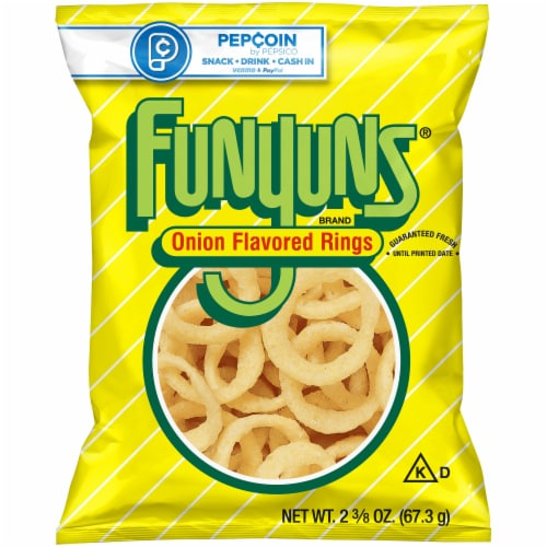 Funyuns Onion Flavored Rings Snacks Perspective: front