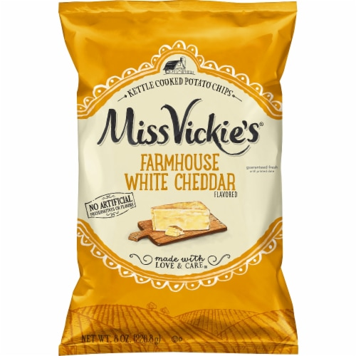 Miss Vickie's Farmhouse White Cheddar Kettle Cooked Potato Chips Snacks 8 oz Bag Perspective: front