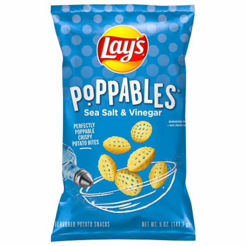 Lay's Poppables Potato Chips Snacks Sea Salt & Vinegar Flavor Bag Perspective: front