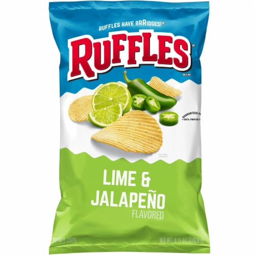 Ruffles Potato Chips Lime & Jalapeno Flavor Snacks Bag Perspective: front