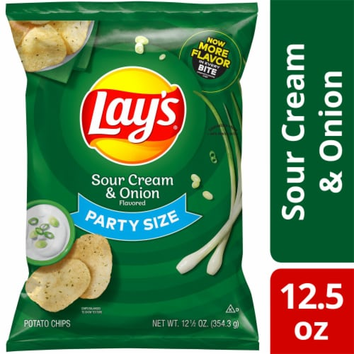 Lay's Potato Chips Sour Cream & Onion Flavor Snacks Party Size Bag Perspective: front