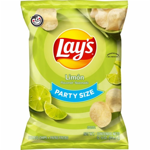 Lay's Potato Chips Limon Flavor Snacks 12.5 oz Party Size Bag Perspective: front