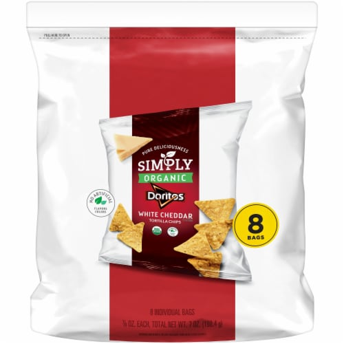 Doritos Simply Organic White Cheddar Cheese Flavored Tortilla Chips Perspective: front