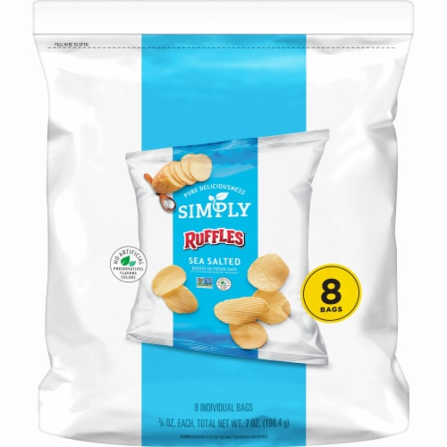 Ruffles Simply Sea Salted Reduced Fat Potato Chips Perspective: front