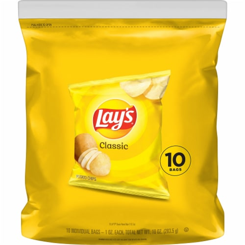 Lay's Classic Potato Chips Snack Bags Perspective: front