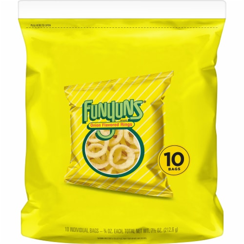 Funyuns Onion Flavored Rings Perspective: front